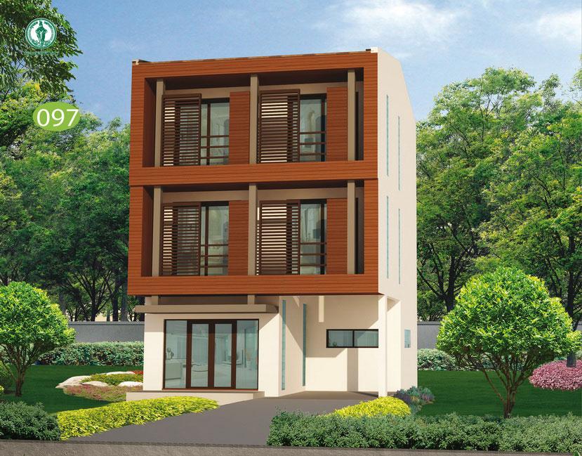 แบบบ้าน 3 ชั้น ราคา 1.8 ล้าน 3 ห้องนอน 3 ห้องน้ำ 213 ตร.ม (หยดน้ำค้าง)