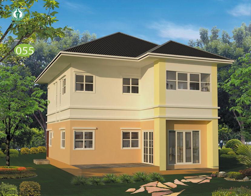 แบบบ้านสองชั้น 4 ห้องนอน 3 ห้องน้ำ 160 ตร.ม. ราคา 1.36 ล้าน (พะยูง)