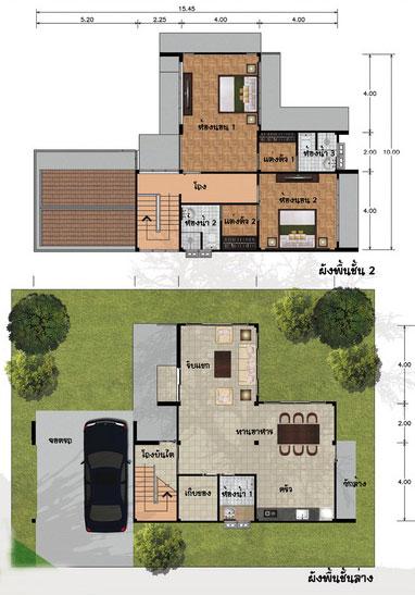 แปลนบ้าน 2 ชั้น 2 ห้องนอน 2 ห้องน้ำ 181 ตร.ม. ราคา 1.538 ล้าน (ลำพู)