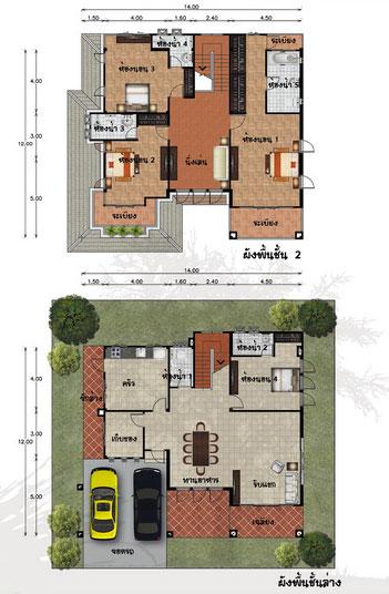 แปลนบ้าน 2 ชั้น 3 ห้องนอน 4 ห้องน้ำ 302 ตร.ม ราคา 2.5 ล้าน (สายวิสูตร)
