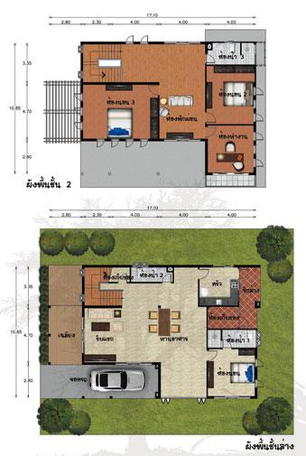 แปลนบ้าน 2 ชั้น 3 ห้องนอน 3 ห้องน้ำ 315 ตร.ม ราคา 2.6 ล้าน (สาละลังกา)