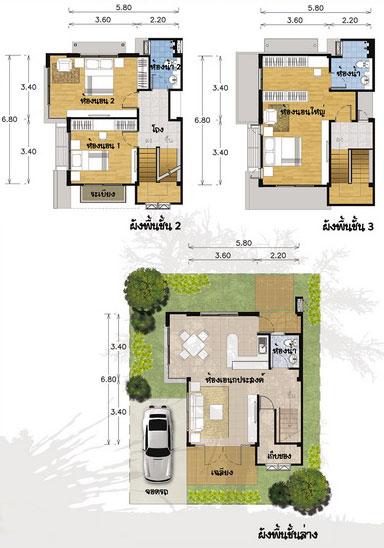 แปลนบ้าน 3 ชั้น ราคา 1.2 ล้าน 3 ห้องนอน 3 ห้องน้ำ 147 ตร.ม (สิรินธรวลี)