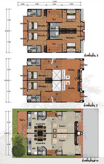 แปลนบ้าน 3 ชั้น ราคาไม่เกิน 3 ล้าน 6 ห้องนอน 8 ห้องน้ำ 320 ตร.ม (หีบไม้งาม)