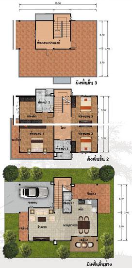 แปลนบ้าน 3 ชั้น ราคา 1.76 ล้าน 3 ห้องนอน 3 ห้องน้ำ 208 ตร.ม (แสมสาร)