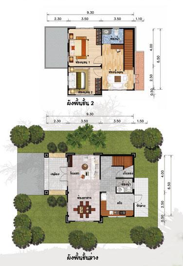 แปลนบ้านสองชั้น 2 ห้องนอน 2 ห้องน้ำ 116 ตร.ม. ราคา 9แสน8 (ทิวา)