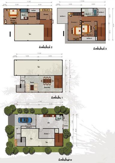แปลนบ้าน 3 ชั้น ราคา 2.1 ล้าน 3 ห้องนอน 3 ห้องน้ำ 256 ตร.ม (หิรัญญิการ์)