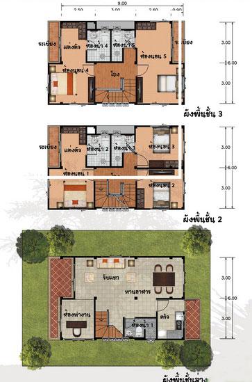 แปลนบ้าน 3 ชั้น ราคา 1.57 ล้าน 5 ห้องนอน 5 ห้องน้ำ 185 ตร.ม (เสลา)
