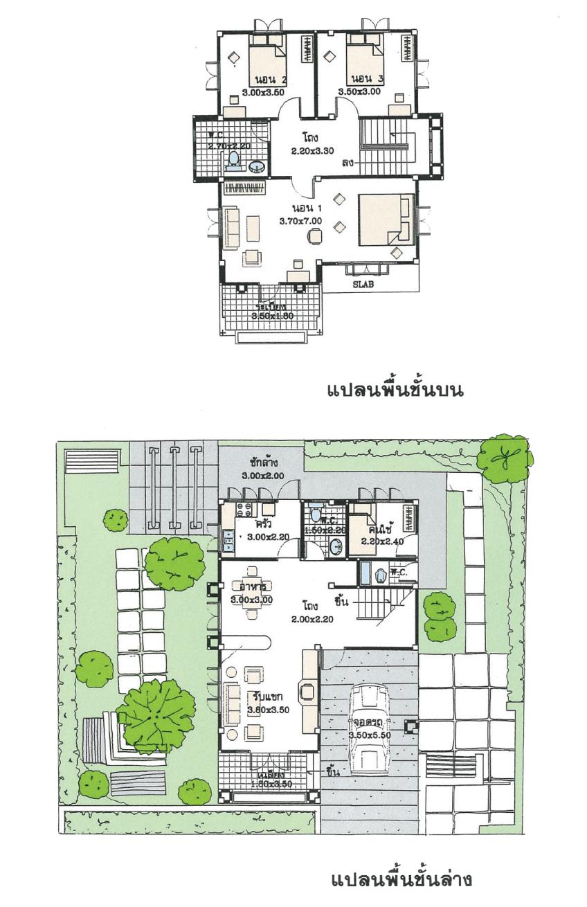 แบบบ้านสองชั้น 3 ห้องนอน 2 ห้องน้ำ 151 ตร.ม ราคา 1.51 ล้าน (สกาวรัตน์)