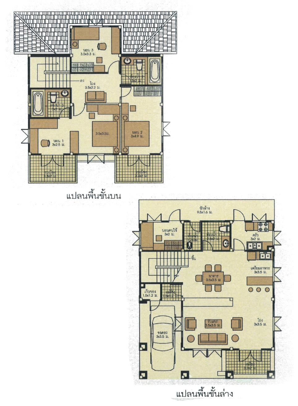 แบบบ้านสองชั้น 3 ห้องนอน 3 ห้องน้ำ 211 ตร.ม ราคา 2.11ล้าน (สราญจิต 2)