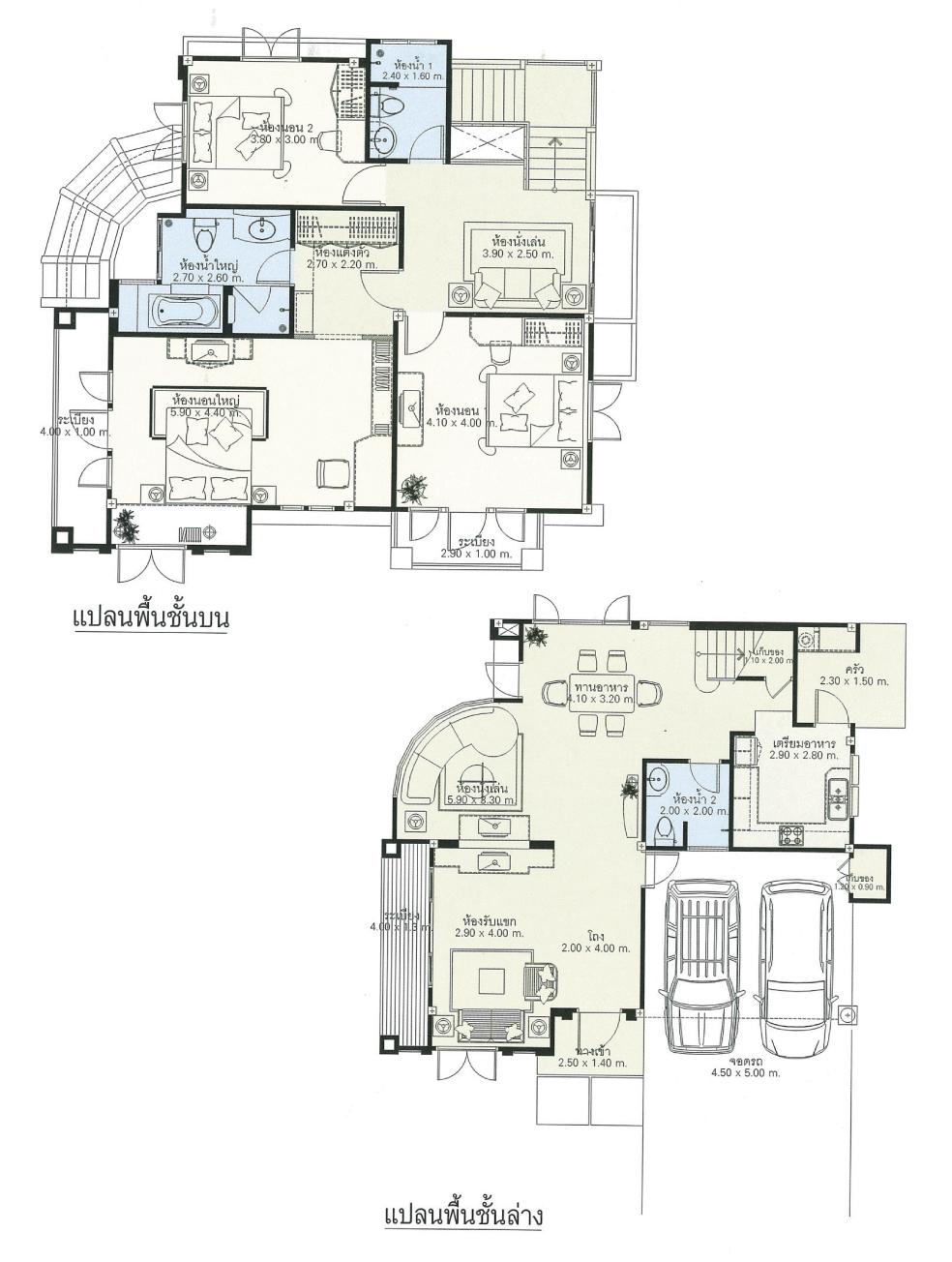 แบบบ้านสองชั้น 3 ห้องนอน 3 ห้องน้ำ 223 ตร.ม ราคา 2.23ล้าน (คทาทอง)