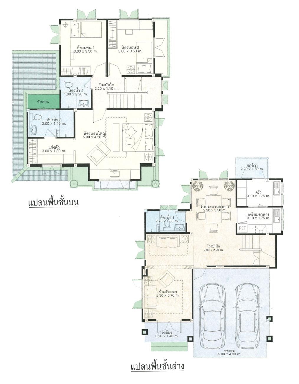แบบบ้านสองชั้น 3 ห้องนอน 3 ห้องน้ำ 176 ตร.ม ราคา 1.76ล้าน (ทองอุไร)