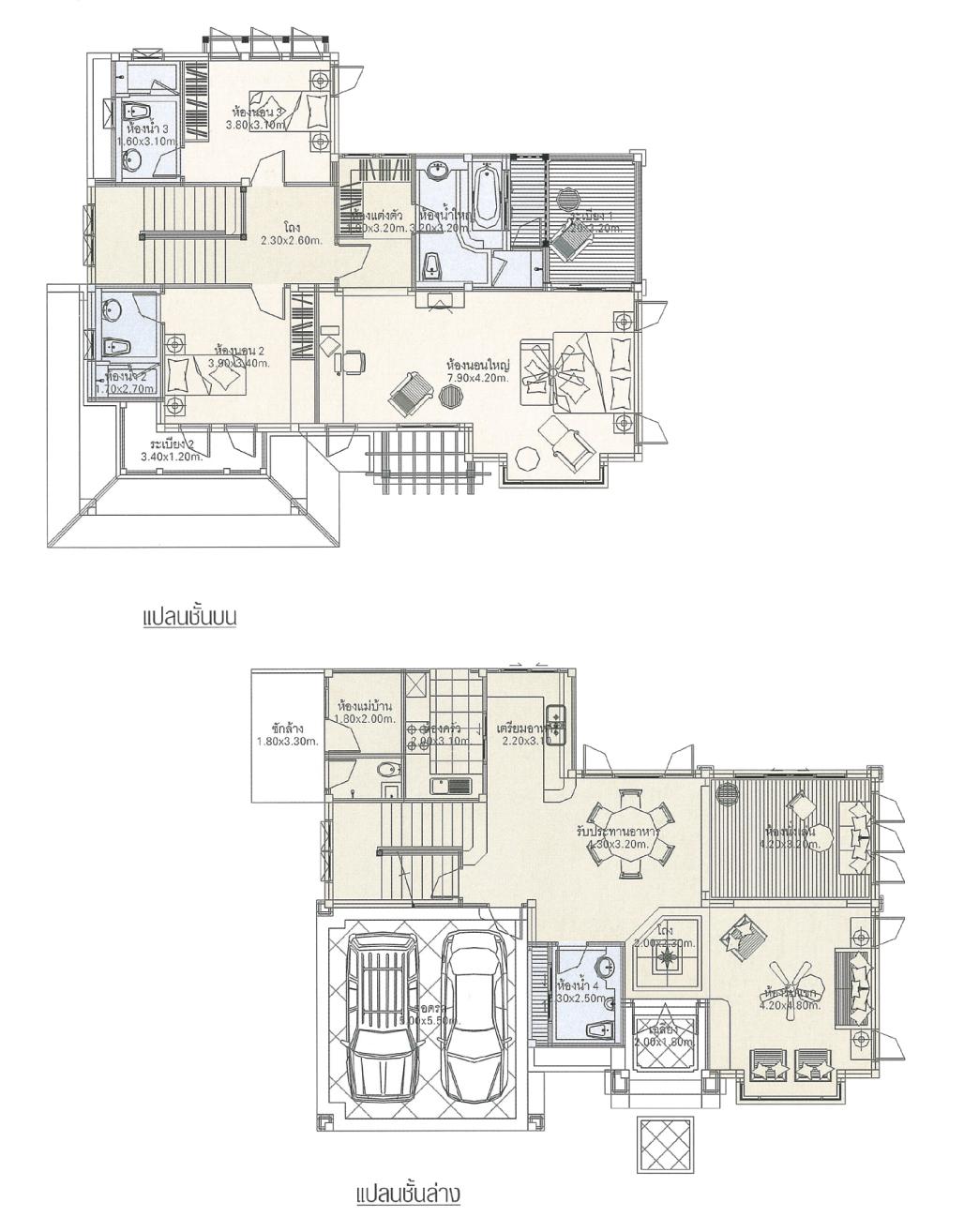 แบบบ้าน 2 ชั้น ราคา 2.51 ล้าน 3 ห้องนอน 4 ห้องน้ำ 251 ตร.ม (ออมทอง)