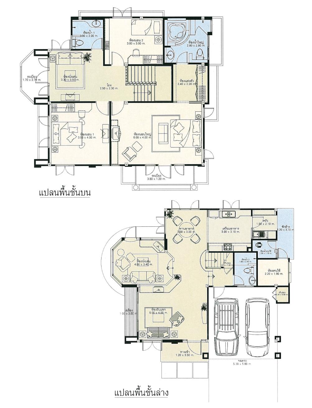 แบบบ้านสองชั้น 3 ห้องนอน 3 ห้องน้ำ 245 ตร.ม ราคา 2.45ล้าน (สะบันงา)