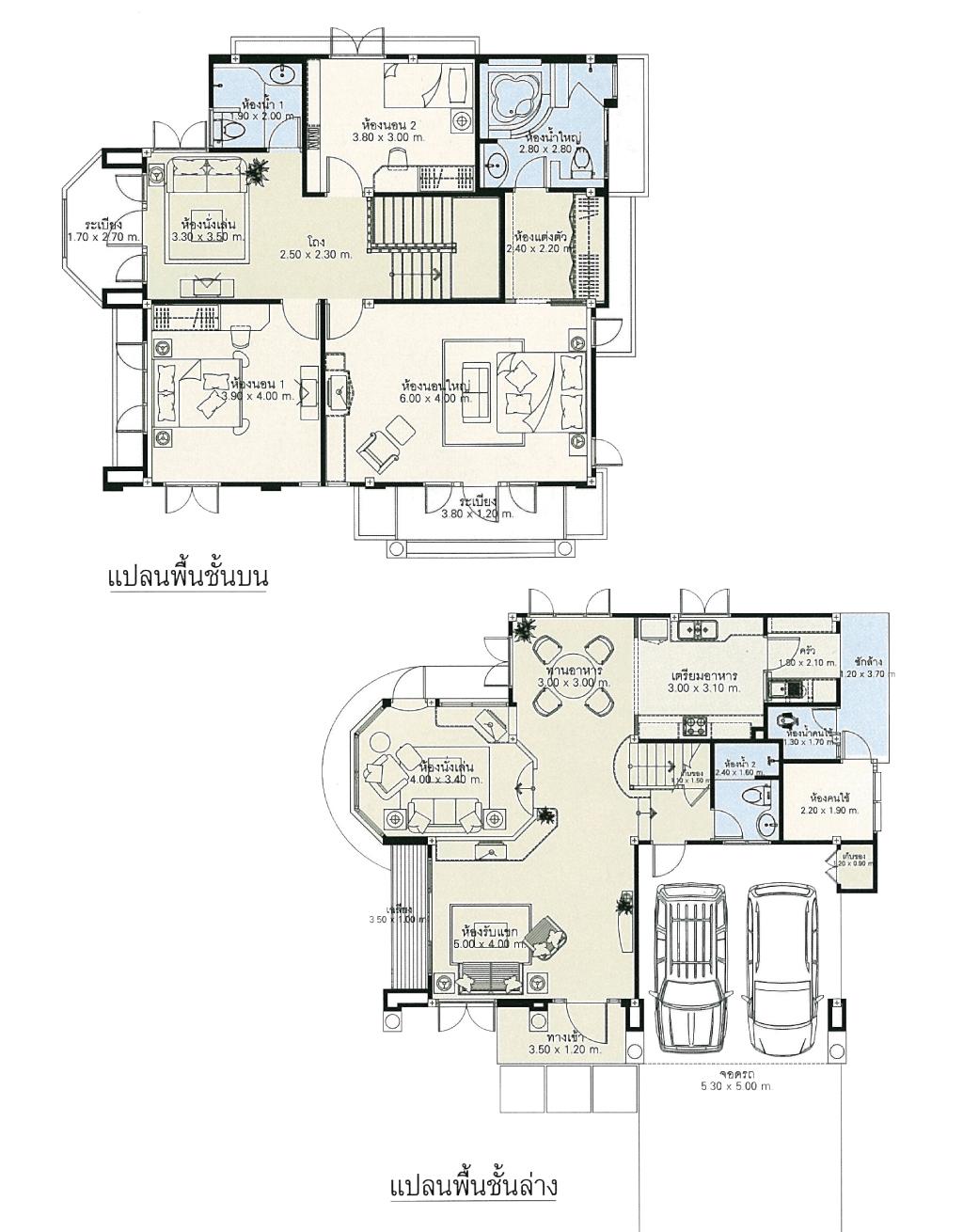 แบบบ้านสองชั้น 3 ห้องนอน 3 ห้องน้ำ 249 ตร.ม ราคา 2.49ล้าน (บุหรง)