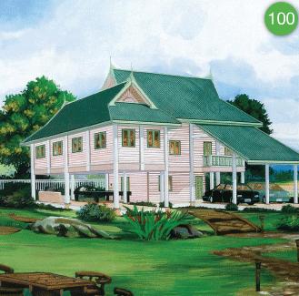 แบบบ้านสองชั้น 2 ห้องนอน 1 ห้องน้ำ 243 ตร.ม ราคา 2.43ล้าน (ไทยอนุรักษ์ไทยภาคใต้)